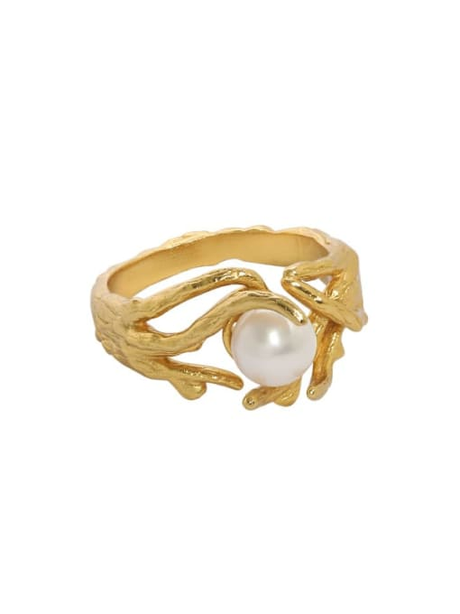 18K gold [13 adjustable] 925 Sterling Silver Imitation Pearl Irregular Vintage Band Ring